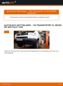 Wie der Wechsel durchführt wird: Motorlager VW T4 Transporter 2.5 TDI 2.4 D 1.9 TD tauschen