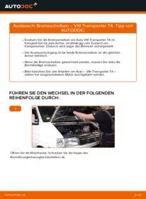 Wie der Wechsel durchführt wird: Bremsscheiben 2.5 TDI T4 Transporter tauschen