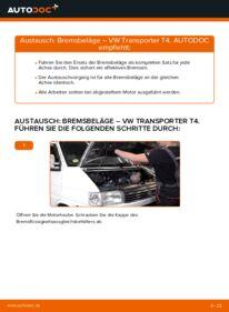 Wie der Wechsel durchführt wird: Bremsbeläge VW T4 Transporter 2.5 TDI 2.4 D 1.9 TD tauschen