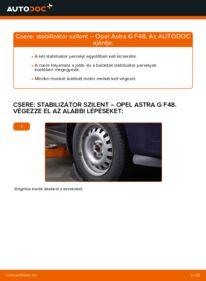 Hogyan végezze a cserét: 1.6 16V (F08, F48) Opel Astra g f48 Stabilizátor Szilent