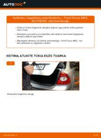 Kaip atlikti keitimą: 1.6 TDCi Ford Focus mk2 Sedanas Bagazines Amortizatorius