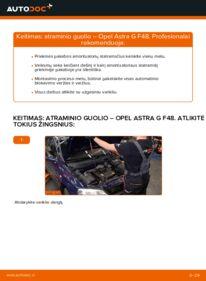 Kaip atlikti keitimą: 1.6 16V (F08, F48) Opel Astra g f48 Amortizatoriaus Atraminis Guolis