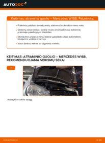 Kaip atlikti keitimą: A 140 1.4 (168.031, 168.131) Mercedes W168 Amortizatoriaus Atraminis Guolis