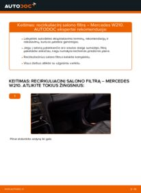 Kaip atlikti keitimą: E 300 3.0 Turbo Diesel (210.025) Mercedes W210 Oro filtras, keleivio vieta