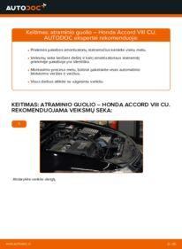 Kaip atlikti keitimą: 2.0 i (CU1) Honda Accord VIII CU Amortizatoriaus Atraminis Guolis