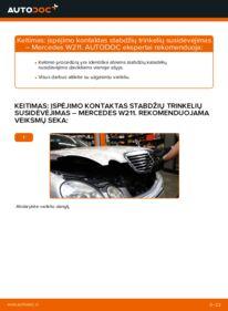 Kaip atlikti keitimą: E 220 CDI 2.2 (211.006) Mercedes W211 Susidėvėjimo indikatorius, stabdžių trinkelės