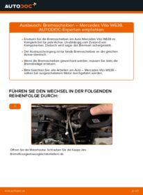 Wie der Wechsel durchführt wird: Bremsscheiben Mercedes W638 Bus 112 CDI 2.2 (638.194) 108 CDI 2.2 (638.194) 110 TD 2.3 (638.174) tauschen