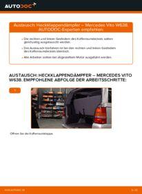 Wie der Wechsel durchführt wird: Heckklappendämpfer Mercedes W638 Bus 112 CDI 2.2 (638.194) 108 CDI 2.2 (638.194) 110 TD 2.3 (638.174) tauschen