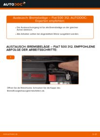 Wie der Wechsel durchführt wird: Bremsbeläge 1.2 Fiat 500 312 tauschen