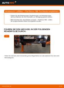Wie der Wechsel durchführt wird: Luftfilter 1.9 D Multijet FIAT BRAVO II (198) tauschen