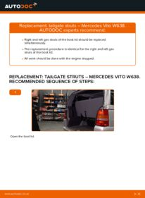 How to carry out replacement: Tailgate Struts on 112 CDI 2.2 (638.194) Mercedes W638 Minibus
