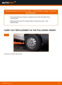 How to carry out replacement: Control Arm on 1.9 JTD Fiat Doblo Cargo