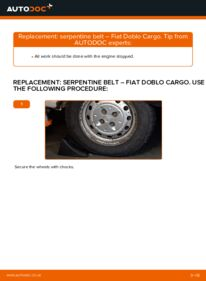 How to carry out replacement: Poly V-Belt on 1.9 JTD Fiat Doblo Cargo