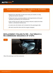 How to carry out replacement: Pollen Filter on FIAT BRAVA