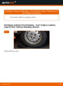 Kaip atlikti keitimą: 1.9 JTD Fiat Doblo Cargo V formos rumbuotas diržas