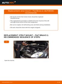 How to carry out replacement: Strut Mount on 1.9 D Multijet FIAT BRAVO II (198)