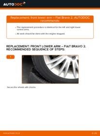How to carry out replacement: Control Arm on FIAT BRAVA