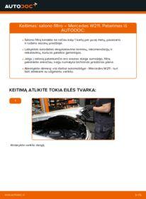 Kaip atlikti keitimą: E 220 CDI 2.2 (211.006) Mercedes W211 Oro filtras, keleivio vieta