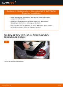 Wie der Wechsel durchführt wird: Stoßdämpfer E 220 CDI 2.2 (211.006) Mercedes W211 tauschen