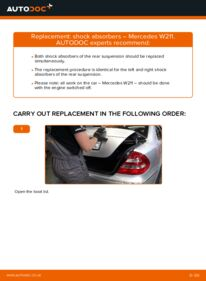 How to carry out replacement: Shock Absorber on E 220 CDI 2.2 (211.006) Mercedes W211