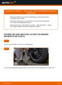 Wie der Wechsel durchführt wird: Federn Mercedes W211 E 220 CDI 2.2 (211.006) E 270 CDI 2.7 (211.016) E 320 CDI 3.2 (211.026) tauschen
