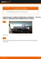 Tutorial passo a passo em PDF sobre a substituição de Correia Trapezoidal Estriada no TOYOTA YARIS (SCP1_, NLP1_, NCP1_)