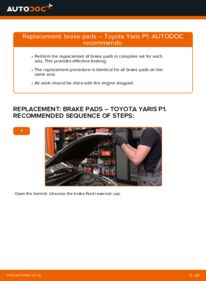 How to carry out replacement: Brake Pads on 1.0 (SCP10_) Toyota Yaris Mk1