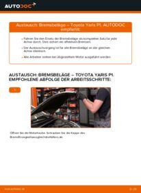 Wie der Wechsel durchführt wird: Bremsbeläge Toyota Yaris p1 1.0 (SCP10_) 1.4 D-4D (NLP10_) 1.3 (SCP12_) tauschen