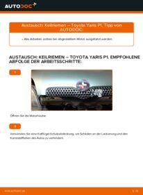 Wie der Wechsel durchführt wird: Keilrippenriemen 1.0 (SCP10_) Toyota Yaris p1 tauschen