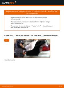 How to carry out replacement: Tailgate Struts on 1.0 (SCP10_) Toyota Yaris p1