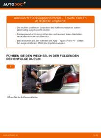 Wie der Wechsel durchführt wird: Heckklappendämpfer 1.0 (SCP10_) Toyota Yaris P1 tauschen