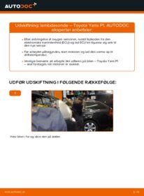 Hvordan man udfører udskiftning af: Lambdasonde på 1.0 (SCP10_) Toyota Yaris p1