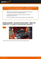Comment changer Kit de plaquettes de frein arrière et avant BMW 3 Convertible (E46) - manuel en ligne