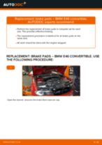 BMW 3 Convertible (E46) change Brake Pads rear and front: guide pdf