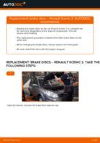 Step by step PDF-tutorial on Brake Discs RENAULT SCÉNIC II (JM0/1_) replacement