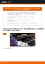 achter en vóór Remschijven PEUGEOT 208 I Hatchback (CA_, CC_) | PDF tutorial voor vervanging