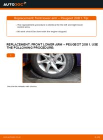 How to carry out replacement: Control Arm on 1.4 HDi Peugeot 208 Mk1