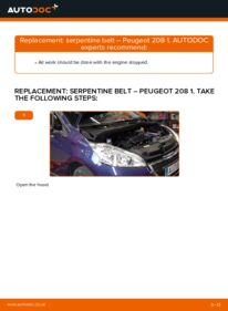 How to carry out replacement: Poly V-Belt on 1.4 HDi Peugeot 208 Mk1