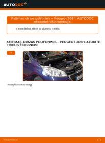Kaip atlikti keitimą: 1.4 HDi Peugeot 208 1 V formos rumbuotas diržas