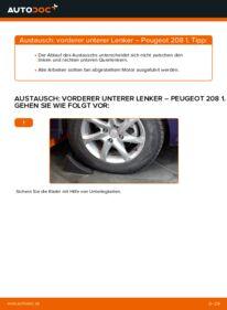 Wie der Wechsel durchführt wird: Querlenker Peugeot 208 1 1.4 HDi 1.2 1.6 HDi tauschen