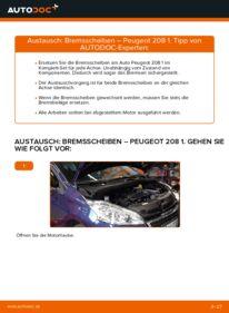 Wie der Wechsel durchführt wird: Bremsscheiben 1.4 HDi Peugeot 208 1 tauschen