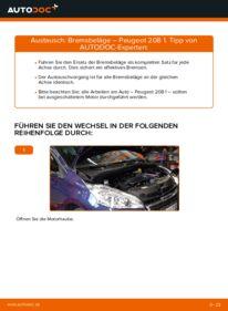 Wie der Wechsel durchführt wird: Bremsbeläge 1.4 HDi Peugeot 208 1 tauschen