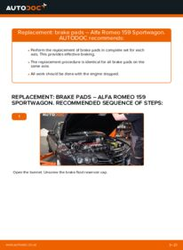How to carry out replacement: Brake Pads on 1.9 JTDM 16V Alfa Romeo 159 Sportwagon
