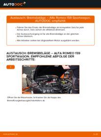 Wie der Wechsel durchführt wird: Bremsbeläge Alfa Romeo 159 Sportwagon 1.9 JTDM 16V 2.4 JTDM 2.0 JTDM tauschen