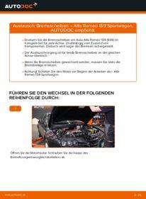Wie der Wechsel durchführt wird: Bremsscheiben 1.9 JTDM 16V Alfa Romeo 159 Sportwagon tauschen