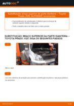Como mudar braço superior da parte dianteira em Toyota Prado J120 - guia de substituição