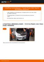 Skifte Bremseklosser TOYOTA LAND CRUISER: verkstedhåndbok