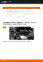 Kaip pakeisti Toyota RAV4 III stabdžių trinkeliu: priekis - keitimo instrukcija