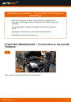 Montering Bremseskiver TOYOTA RAV 4 III (ACA3_, ACE_, ALA3_, GSA3_, ZSA3_) - steg-for-steg manualer
