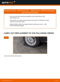 How to carry out replacement: Wheel Bearing on 1.9 JTDM 16V Alfa Romeo 159 Sportwagon